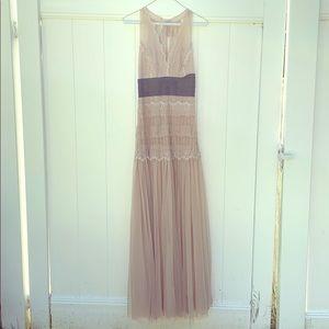 Zara antique cream lace gown